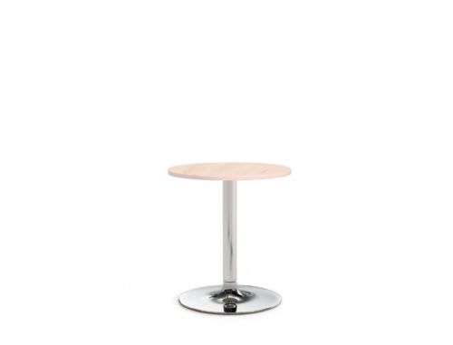 Pledge Avant 600mm Diameter Round Table With Wooden Top And Round Chrome Base